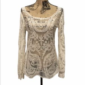 Everleigh White Lace Floral Long-Sleeve Blouse S